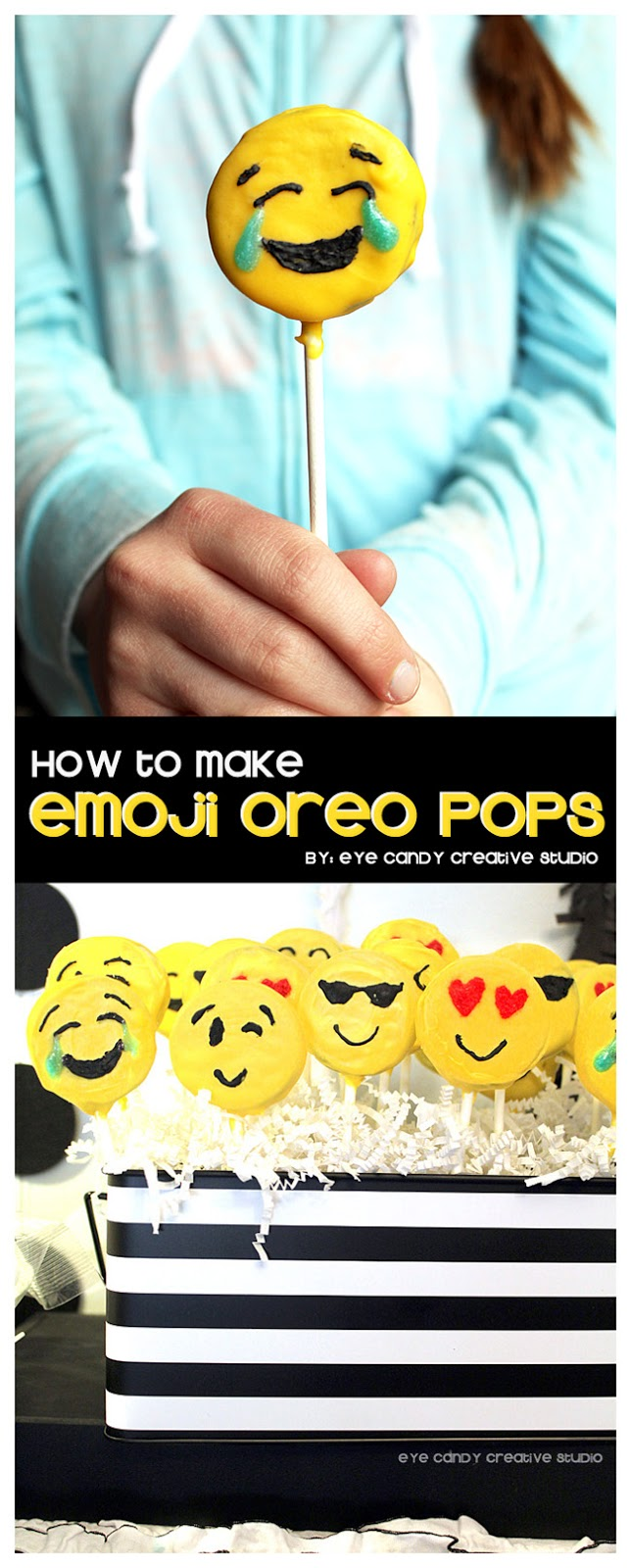 how to make emoji oreo pops, empji party food, emoji birthday party