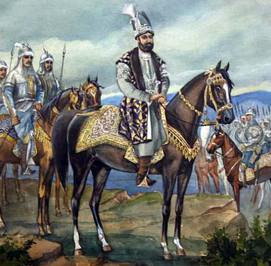 Nadir Shah with cavalry troops
