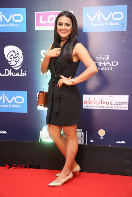 Actress Shraddha Srinath Stills in Black Short Dress at SIIMA Short Film Awards 2017  0025