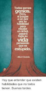 Todos somos genios. Pero, si juzgas a un pez por su habilidad para escalar un árbol pasará toda su vida pensando que es estúpido -Albert Einstein