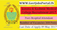 Jammu & Kashmir Medical College Recruitment 2017– 300 Nursing Orderly/Hospital Attendant, Beare