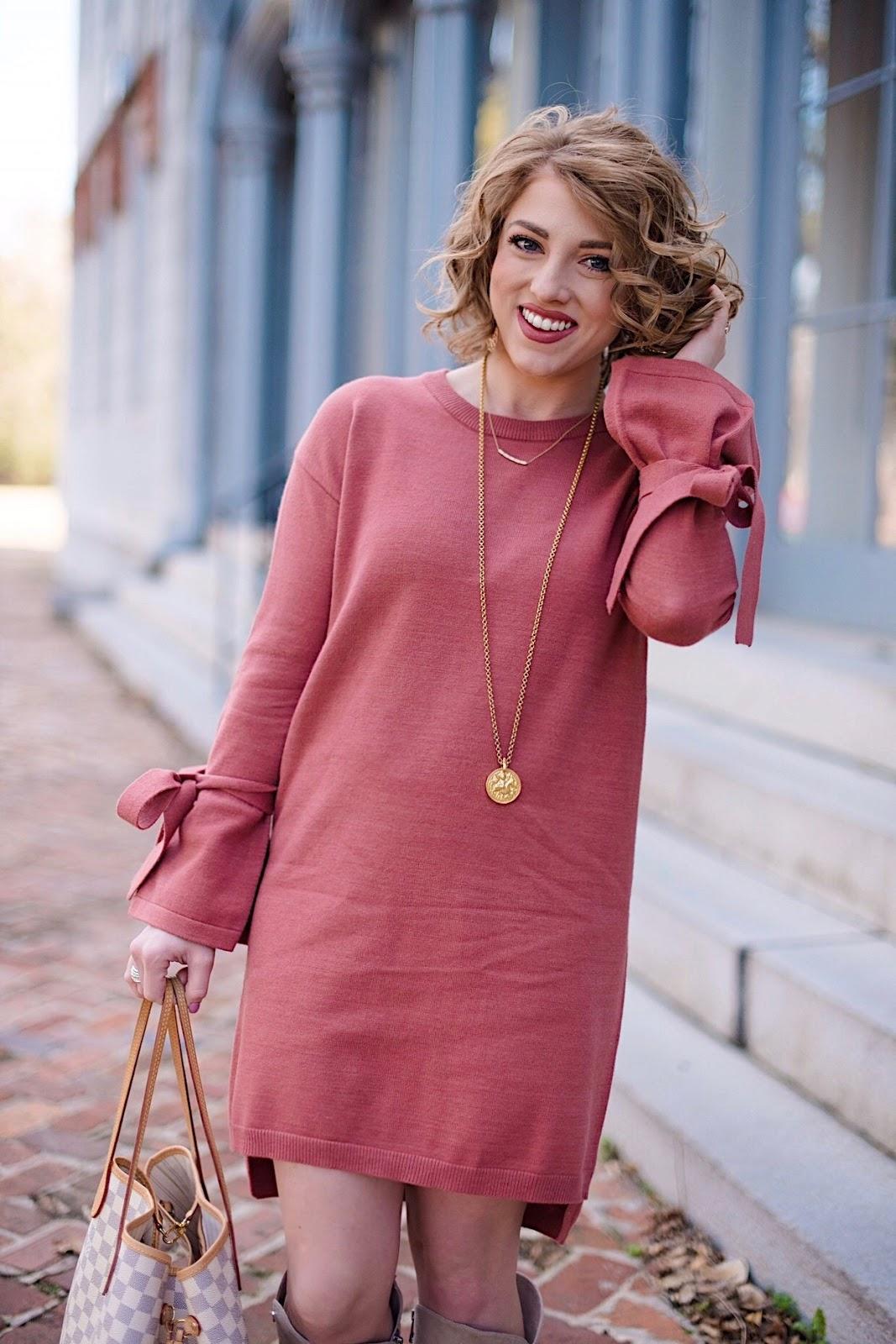 Tied Sleeve Sweater Dress - Something Delightful Blog