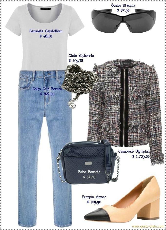 Calça jeans com casaqueto Chanel é chiquiteza na medida certa