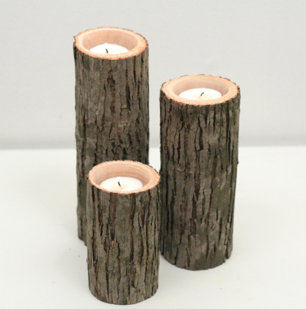 Rustic Wood Candle Holders | Spicytec