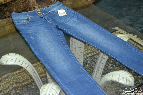 Blue High Waist Button Fly Skinny Denim Jeans