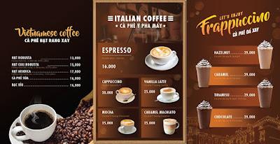 menu quán cafe đơn giản
