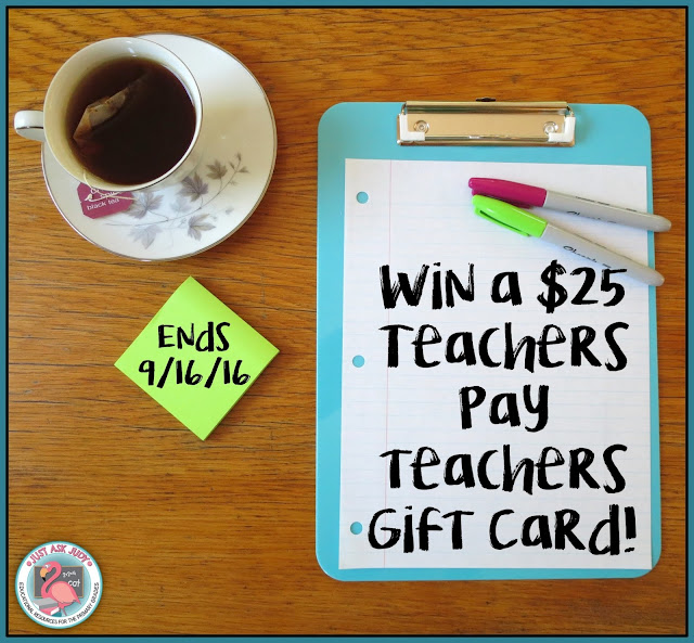 Enter before 9/16/16 for the chance to win a $25 Teachers Pay Teachers gift card!
