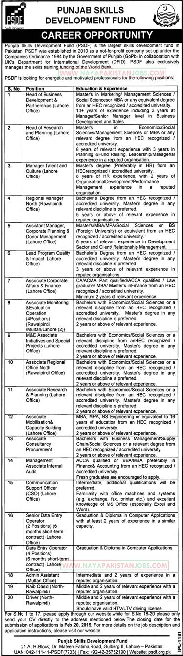 Jobs in PSDF, Punjab Skill Development Fund Jobs 2019 Feb Lahore