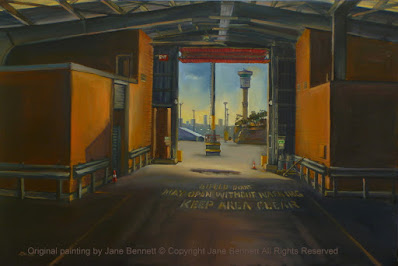 plein air oil painting of interior of abandoned cruise ship terminal Wharf 8 Barangaroo by industrial heritage artist Jane Bennett