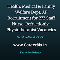 Health, Medical & Family Welfare Dept, AP Recruitment for 272 Staff Nurse, Refractionist, Physiotherapist Vacancies