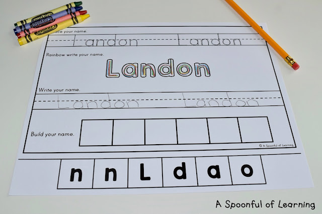 Name Activities - Trace, Rainbow Write, Write, and Build 2