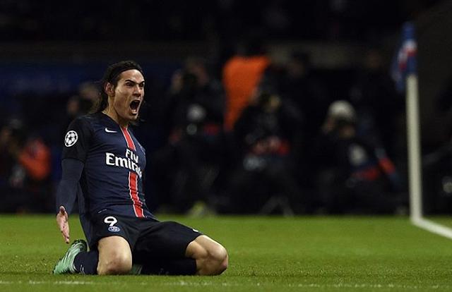 Selebrasi Cavani membawa PSG unggul 2-1 atas Chelsea