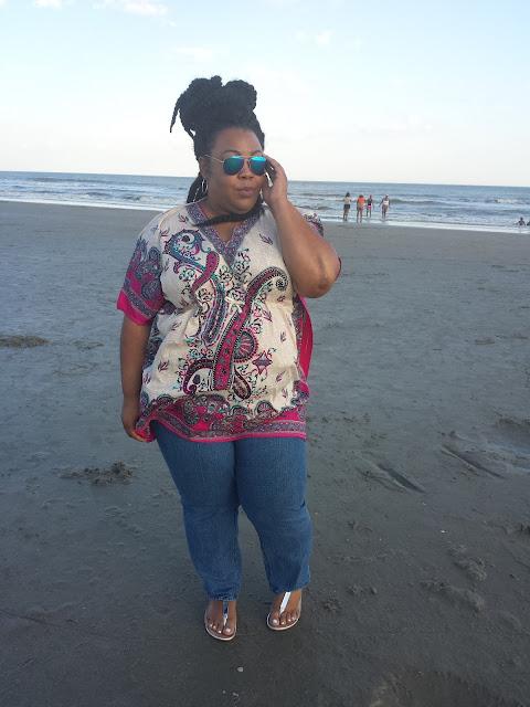 bohemian inspired caftan, plus size denim jeans, thong sandals, aviator sunglasses