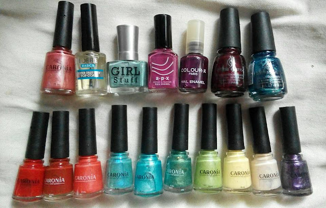 R to L: China Glaze, Colour-X, APX, Girl Stuff, Bobbie, Caronia, beauty blogger philippines,