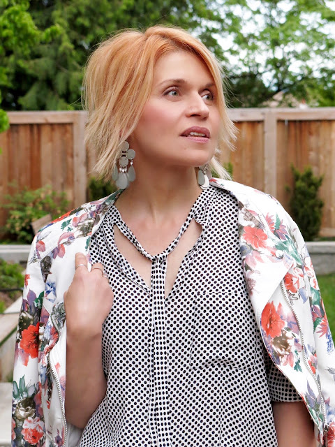 polka-dotted blouse, floral moto jacket