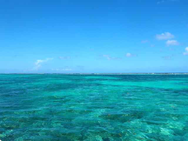 Turquoise lagoon water around Caye Caulker, Belize