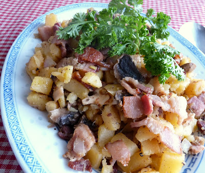 Rutabaga with Bacon, Mushrooms, & Onions