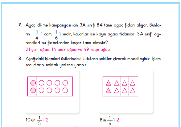 3. Sınıf Berkay Yayınları Matematik Çalışma Kitabı 110. Sayfa Cevapları 4. Çalışma Bir Çokluğun Belirtilen Kesri
