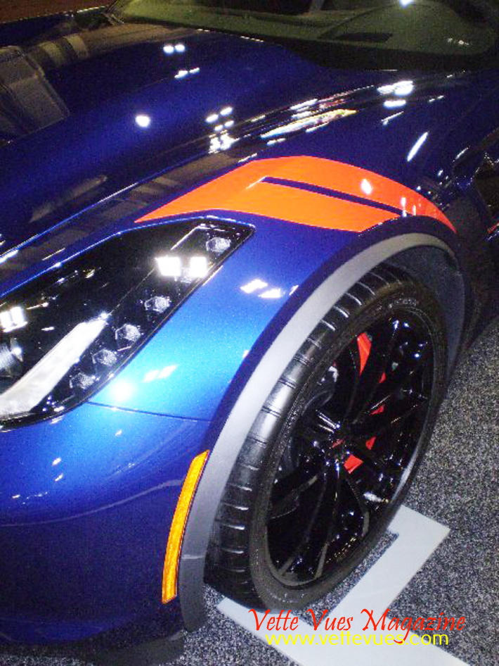The Corvette Grand Sport sports a pair of fender hash stripes like those on the original race car.