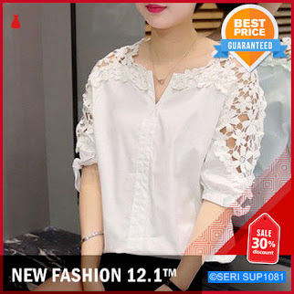 SUP1081B25 Blouse Model Hollow Bahan Lace Murah BMGShop