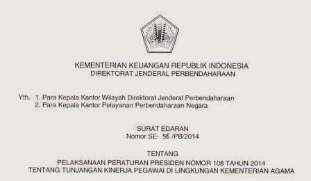 SE-56/PB/2014 Pelaksanaan Pepres 108 Tahun 2014 Tunjangan Kinerja Kemenag