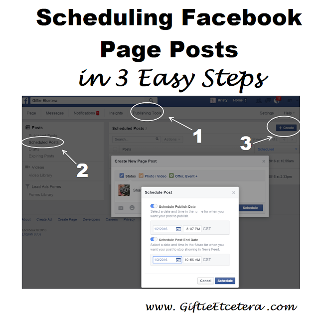scheduling facebook; blogging and facebook; blog page on Facebook