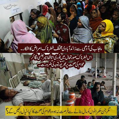 More پنجاب کی آدھی سے زائد آبادی مختلف خطرناک امراض کا شکار