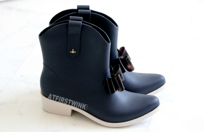 Vivienne Westwood Anglomania + Melissa protection II - blue/beige  navy rubber rain boots