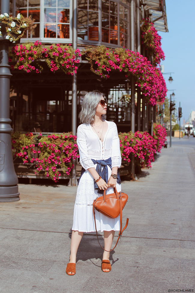 Japanese Fashion Blogger,MizuhoK,20180906OOTD in poland, CHOIES=white lace dress, forever21=navy blue shirt, Rakuten=blown triangle bag, Newchic=blown mules, zeroUV=sunglasses, GU=silver necklace, NIXON=gold watch, 3COINS=earrings