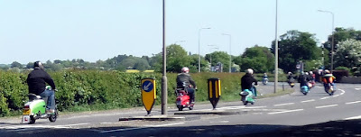 """Picture: Memories of the 1960s """"Mods"""" era in May 2018 on the A18 in Brigg as a large group of scooter riders roared through on their way to a rally on the coast - see Nigel Fisher's Brigg Blog"""