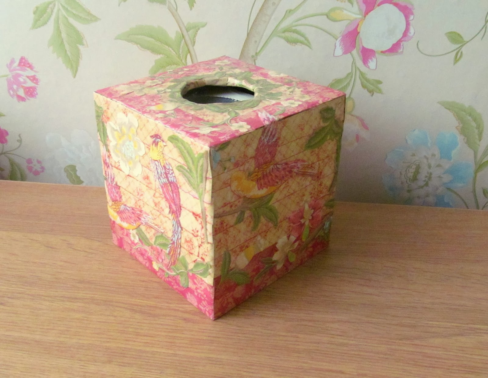 Decoupaged tissue box by Pink Flamingo Handcrafting