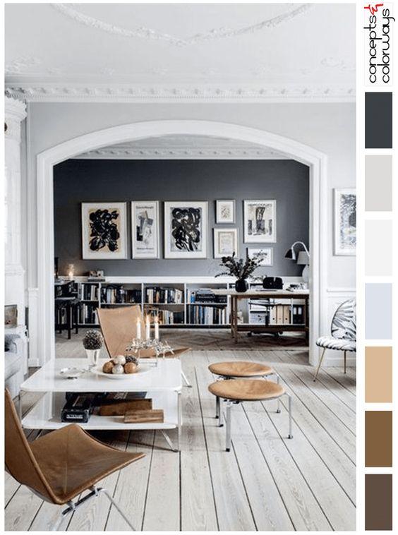сочетание серого и коричневого в интерьере