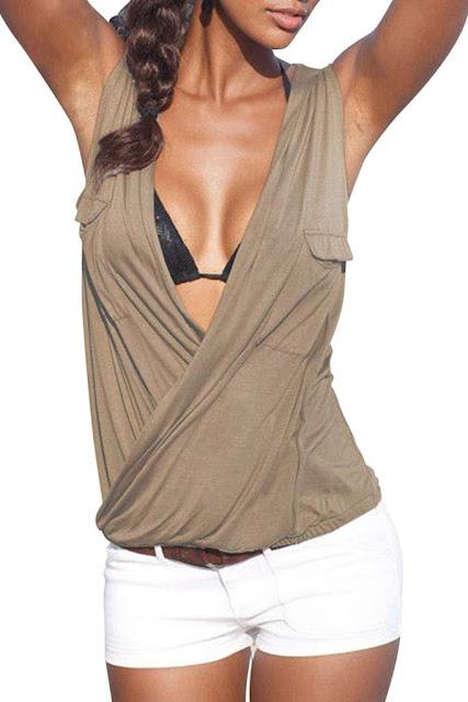Iyasson Women Sexy Deep V-neck Sleeveless Wrap Top