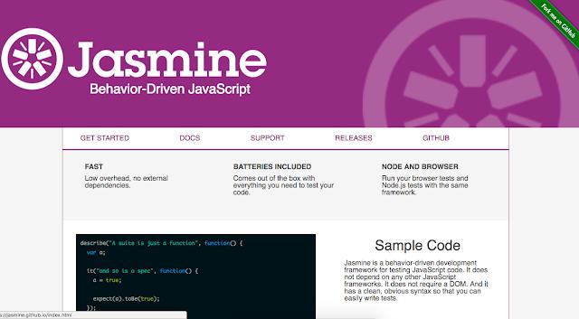 Jasmine test homepage