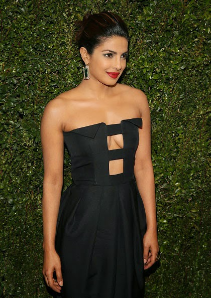 Priyanka Chopra in Black Mini-dress Exposing Cleavage