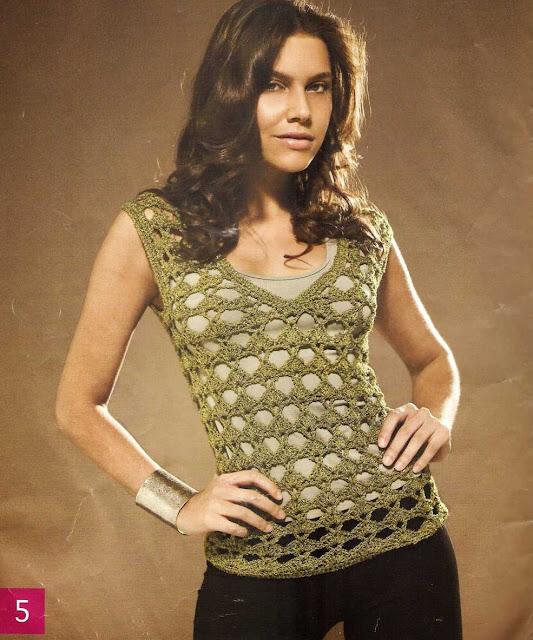 Patrón #1444: Blusa Calada a Crochet.