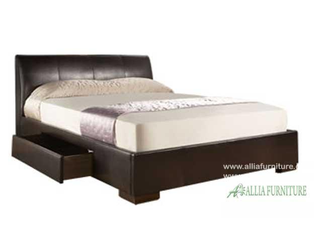 tempat tidur minimalis laci lapis kulit hamburg