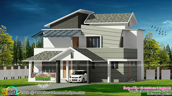 2042 sq-ft contemporary style house architecture