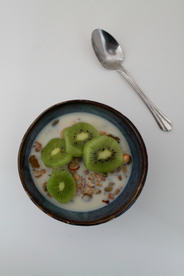 Healthy breakfast ideas (vegan friendly): homemade granola (vegan) and sliced kiwi