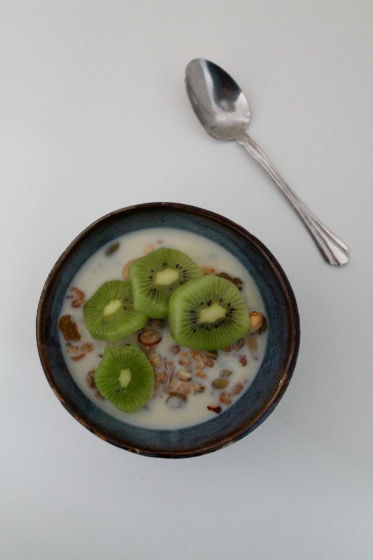 Healthy breakfast ideas (vegan friendly): homemade granola (vegan) and sliced kiwi