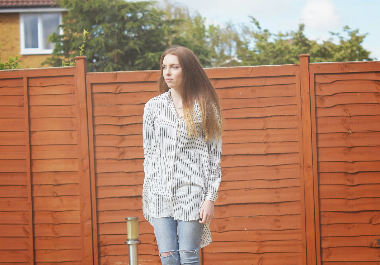 zara pinstripe boyfriend shirt