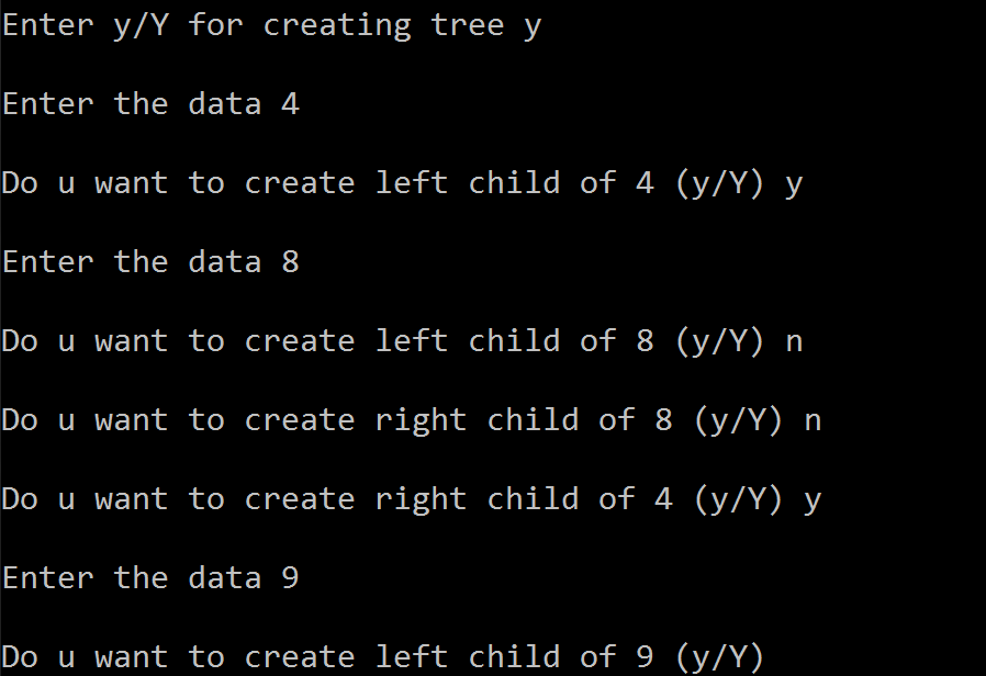 C code to implement Binary Tree