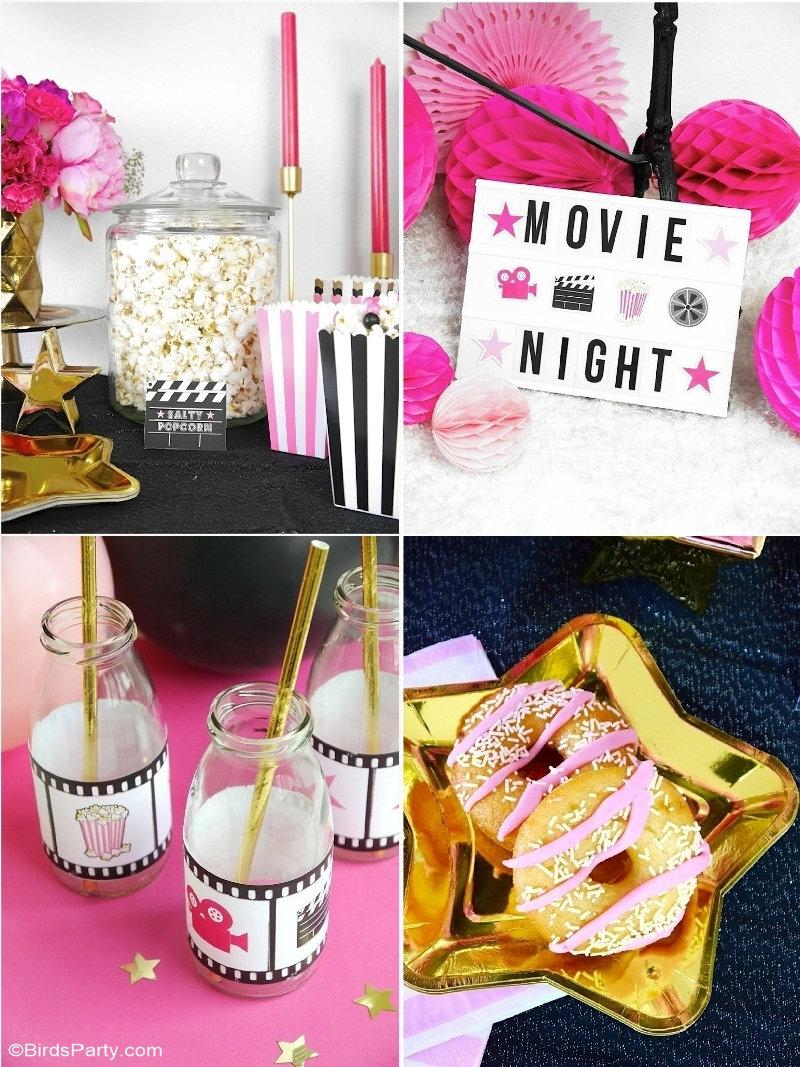 Idées de Fête Soirée Cinéma -  idées faciles et girly pour organiser un anniversaire thématique cinéma ou regarder les Oscars à la maison! by BIrdsParty.com @birdsparty #cinemasoiree #soireecinema #movieparty #soireenetflix #lesoscars #anniversairecinema