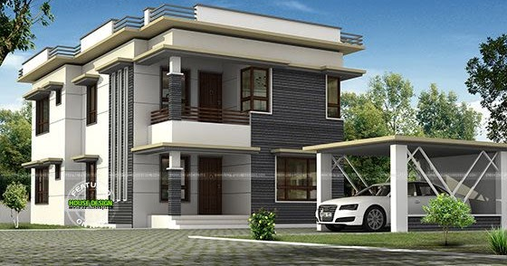 Separate car porch flat roof home kerala home design and for Car porch roof