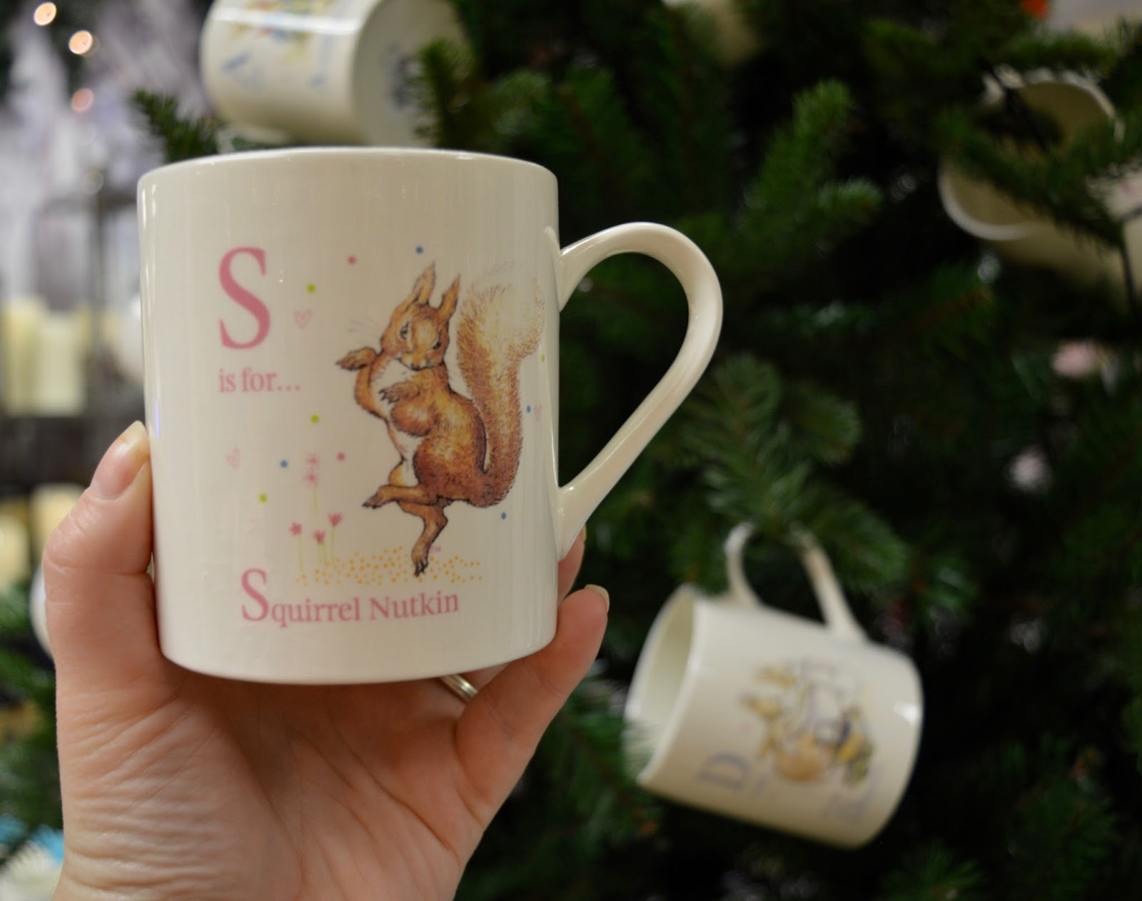 Fenwick's Window Newcastle 2016. Beatrix Potter / Peter Rabbit theme - Fenwick Christmas department level 2 - fenwick peter rabbit initial mug