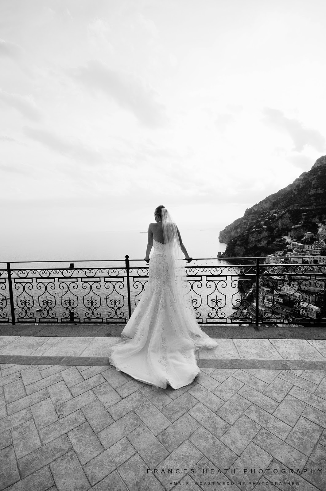 Bride enjoying the view of Positano