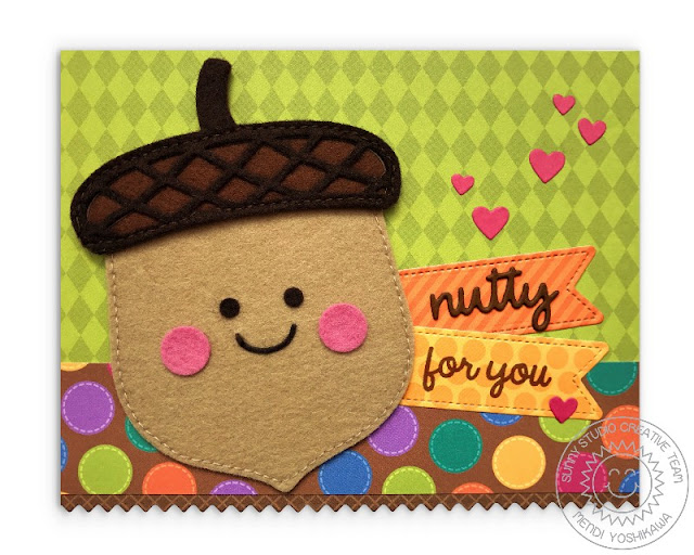 Sunny Studio Stamps: Nutty For You Felt Acorn Fall Card by Mendi Yoshikawa