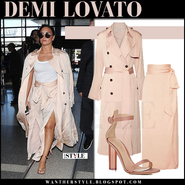 Demi Lovato in peach silk trench elizabeth and james and silk maxi skirt at LAX what she wore may 16 2017