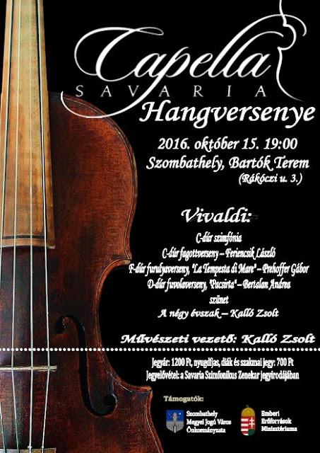 Szeretettel hívjuk október 15-én (szombaton) a szombathelyi Bartók Teremben 19 órakor kezdődő hangversenyünkre!