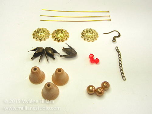 Beading supplies required for the Aussie Bush Christmas earrings